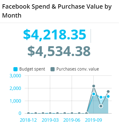 Facebook Spend & Purchase Value by Month/Day | Reportz